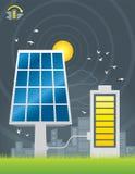 Uppladdning för solpanelstadsenergi Royaltyfri Illustrationer