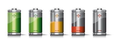 Uppladdningbatteri med symboler Royaltyfri Fotografi