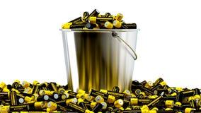 Uppladdningsbara motorförbundetbatterier i en hink Royaltyfri Fotografi