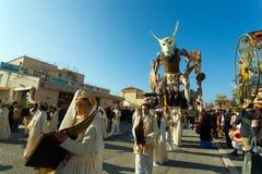 140. upplaga av karnevalet av Viareggio Arkivbild
