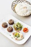 Uppläggningsfat för mezze för mat för mellanmål för startknapp för Falafelhummushoumus Royaltyfria Bilder