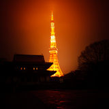 Upplysande varm ljus skapande kontur för Tokyo torn av set Arkivbilder