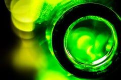 Upplyst ölflaska Fotografering för Bildbyråer