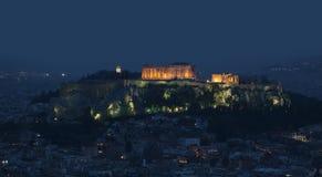 Upplyst akropol Royaltyfri Foto