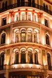 Upplyst byggnadsframdel Royaltyfri Fotografi