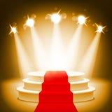 Upplyst etapppodium för illustration för vektor för utmärkelseceremoni Royaltyfri Foto