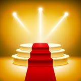 Upplyst etapppodium för utmärkelseceremoni Royaltyfri Fotografi