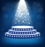 Upplyst festligt etapppodium med lampor på blått royaltyfri illustrationer