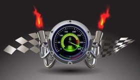 Upplyst hastighetsmätare för vektor Arkivfoton