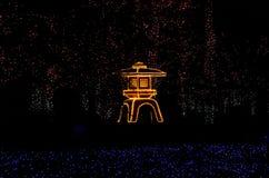 Upplyst japanträdgård, Kyoto Japan Arkivbilder