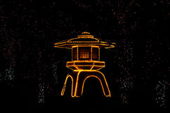 Upplyst japanträdgård, Kyoto Japan Arkivbild
