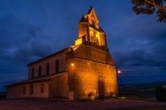 Upplyst kyrka i Frankrike Royaltyfria Foton