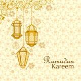 Upplyst lampa för Ramadan Kareem Greetings för Ramadanbakgrund royaltyfri illustrationer