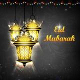 Upplyst lampa på Eid Mubarak bakgrund stock illustrationer