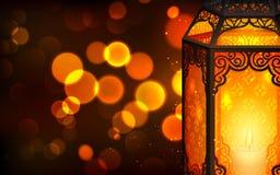 Upplyst lampa på Eid Mubarak (lyckliga Eid) stock illustrationer