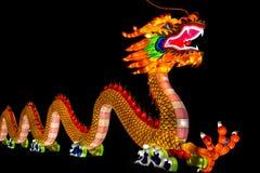 Upplyst lykta för kinesisk drake Arkivfoto