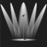 Upplyst plats med en mikrofon royaltyfri illustrationer