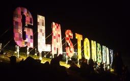 Upplyst tecken för musikfestival Royaltyfri Fotografi