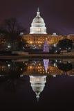 Upplyst Washington DC för USA-Kapitoliumkupol Fotografering för Bildbyråer
