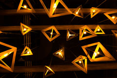 Upplysta hängande lampor Royaltyfria Foton