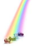 Upplysta läka kristaller för regnbåge Royaltyfria Foton