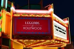 Upplysta legender av det Hollywood tecknet på Hollywood studior i Walt Disney World område royaltyfria foton
