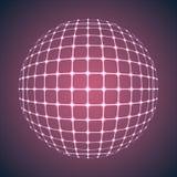 Upplysta purpurfärgade Mesh Sphere Arkivfoto