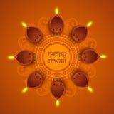 Upplysta tända lampor för lycklig Diwali beröm royaltyfri illustrationer