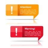 Uppmärksamhet- och varningsbaner stock illustrationer