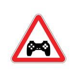 Uppmärksamhetvideospel Faror av det röda vägmärket Gamepad varning royaltyfri illustrationer