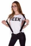 Uppnosig Geeky womab Royaltyfri Fotografi