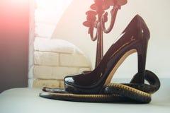 Uppnosig häl Orm som slås in runt om skon och ljusstaken för hög häl Sko för ormvaktmode på kandelaber läder Royaltyfri Bild