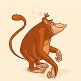 Uppnosigt orangutangapatecken Vektormaskot arkivbilder