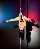 Uppochnervänd Pole dansare Arkivbilder