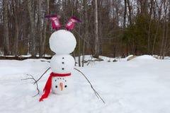Uppochnervänd snögubbe Arkivfoton