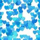 Upprepa hjärtamodellbakgrund - vektorillustration från hjärtor i ljus - blått tonar med skuggaeffekt Arkivfoton