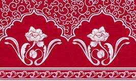 Upprepa modellen med motiv av kinesisk målning Vita prydnad och blommor på en röd texturerad bakgrund Royaltyfri Fotografi
