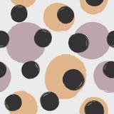 Upprepa runda prickar som dras av handen med den grova borsten seamless kulör modell Skissa vattenfärgen, grunge stock illustrationer