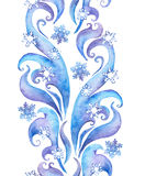 Upprepa vintergränsramen, dekorativt band för vattenfärg Arkivfoton