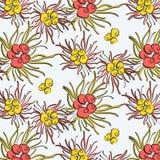 Upprepningsvåren blommar garnering Ljus botanisk konst för abstrakt suer Blom- sammansättningstyger Bukettblomningbakgrund royaltyfri illustrationer