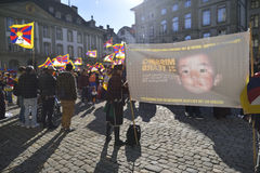 10 upprordag 2017 för mars i Tibet, Bern switzerland Arkivfoton