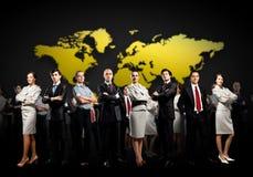 uppröra för händer för affärsmanbusinesspeoplegrupp Arkivfoto