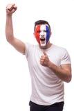 Upprymt skri av den Frankrike fotbollsfan i segerlek eller ställning av det Frankrike landslaget Fotografering för Bildbyråer