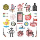 Uppsätta som mål symbolsvektorpilen i syfte av darttavlan, och målet av uppsättningen för illustrationen för framgångaffärsstrate Arkivbild