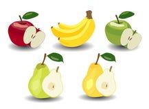 Uppsättning Äpplen, bananer och päron Royaltyfria Foton
