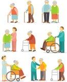 Uppsättning av äldre folk i plan stil Fotografering för Bildbyråer