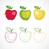 Uppsättning av äpple tre Arkivbilder