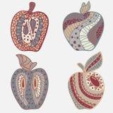 Uppsättning av 4 äpplen i klotter Pastellfärgad signal royaltyfri illustrationer