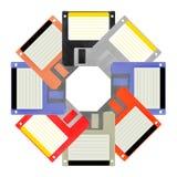Uppsättning av åtta disketter Arkivfoto