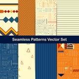 Uppsättning av åtta sömlösa geometriska modeller med etniska och stam- stilprydnadbeståndsdelar Arkivbild
